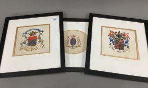 Three 19th century gouache and watercolour armorials,
