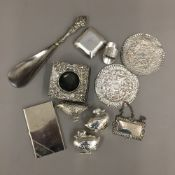 A silver patch box, a small silver frame,