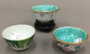 A 19th century Chinese famille rose hexagonal porcelain tea bowl with turquoise interior,