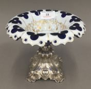 A 19th century Continental silver and gilded cut overlay glass tazza