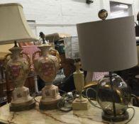 Four decorative table lamps