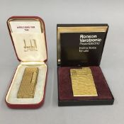 A boxed Dunhill lighter and a boxed Ronson lighter