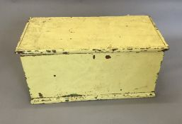 A Victorian painted pine trunk,