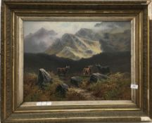 CEDRIC GRAY (19th/20th century) British, Highland Cattle in a Mountainous Landscape, oil on canvas,