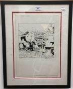 TIMOTHY MARWOOD (1954-2008) British, The Fat Controller and Engines, Issue 100 17/8/91, pen and ink,
