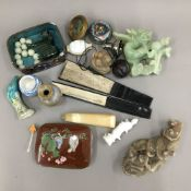 A box of miscellaneous Chinese items
