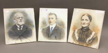 Three Victorian glass photographic plates