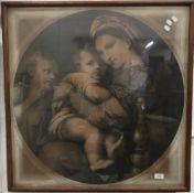 After RAPHAEL (1483-1520) Italian, Madonna Della Seggiola, engraving,