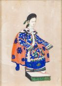 A late 19th century Chinese rice paper painting of an Empress, seated in traditional costume,