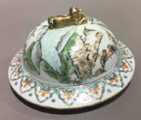 A 19th century Chinese porcelain vase lid