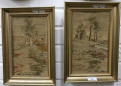 A pair of needlework landscapes,