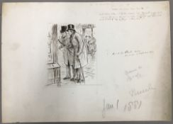 GEORGE DU MAURIER (1834-1896) French When We Were Boys Together Pen and ink, signed, titled,