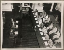 Five black and white photographic military prints relating to Japanese General Numata signing the