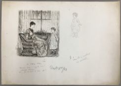 GEORGE DU MAURIER (1834-1896) French A Rainy Day Pen and ink, signed, titled,