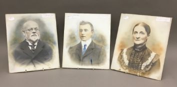 Three Victorian glass photographic plates