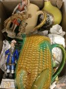A box of miscellaneous china