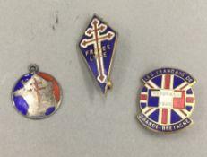 Three WWII enamel Free France badges