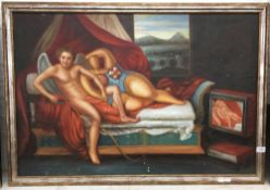 DECORATIVE SCHOOL (20th century), Cherub and Abstract Figure Reclining in a Dream-Like Landscape,