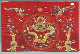 A Chinese embroidered textile panel