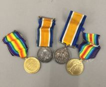 Two pairs of WWI service medals