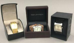 A Christin Lars gilt metal cased gentleman's Tank wristwatch,