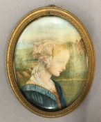 A 19th century portrait miniature of a young lady