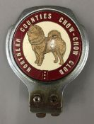 A vintage Northern Counties Chow-Chow Club car badge