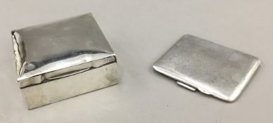 An early 20th century silver cigarette box and a silver cigarette case (207 grammes total weight)
