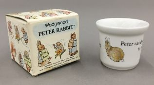 A boxed Bunnykins Peter Rabbit Wedgwood egg cup,