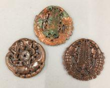Three agate roundels