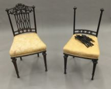 A pair of Victorian mahogany boudoir chairs (one A/F)