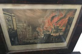 The Destruction of The House of Lords and Commons by Fire 1834, print, framed and glazed,