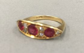 An 18 ct gold navette natural spinel and diamond ring (3.