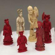 Six 19th century ivory figures