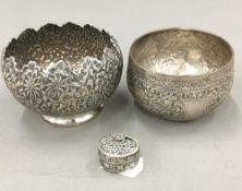 An Indian white metal bowl,