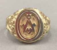 A 9 ct gold Masonic secret signet ring (9.
