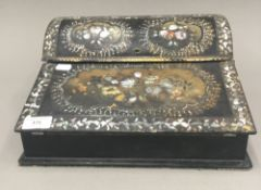 A Victorian abalone inlaid papier mache writing slope