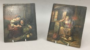 Two 19th century oils on metal panels, figures and birds in an interior,