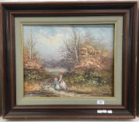 DECORATIVE SCHOOL (20th century), Sisters in a Rural Landscape, oil on canvas, signed P Winson,