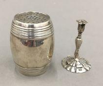 A 925 silver miniature taper stick, London 1904, maker's mark for Samuel Boyce Landeck,