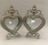 A pair of heart lanterns