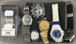 Seven various wristwatches and a Tag Heuer instruction and guarantee card