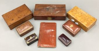 An antique satin birch box together with a plush lined mahogany box, another,