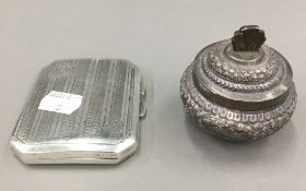 A silver cigarette case and an Eastern white metal lidded pot