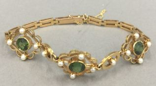 An Edwardian 15 ct gold bracelet (10.