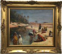 DECORATIVE SCHOOL (20th century), North African Figures in an Oasis Desert Landscape, oil on canvas,