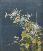 A late 19th/early 20th century Japanese silk work picture Worked with a butterfly and floral sprays,