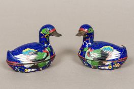 A pair of Chinese cloisonne lidded boxes Each formed as a duck. Each 9 cm wide.