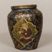An antique Persian metalware vase Polychrome decorated with figural vignettes within scrolling