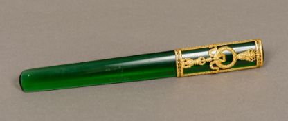 A silver gilt mounted letter opener The pierced scrolling handle bearing Russian marks. 22.